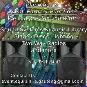 For Hire: Sound Systems, Disco Lighting, Music for Your Events