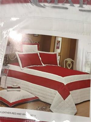 Red and white leather bedding set
