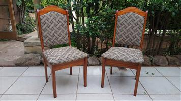 Beautiful pair of solid pine high back chairs.
