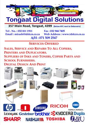 SALES AND SERVICES TO COPIERS AND PRINTERS