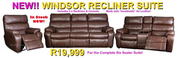 Windsor 6 Piece, 3 Recliner + Console In Air-Leather - R19,999
