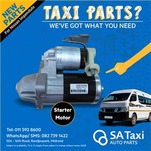 New Starter Motor suitable for Nissan Impendulo - SA Taxi Auto Parts quality spares