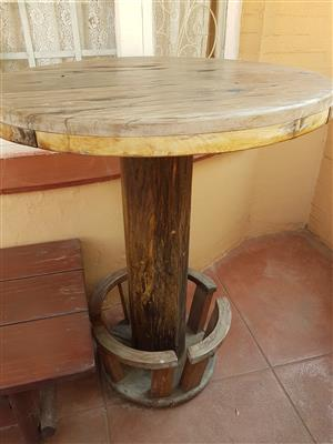 Sleeper wood solid bar table and 8 seater sleeper wood table see pictures for both R- 6000.00