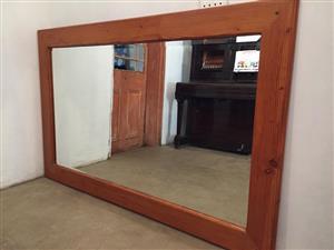 Large wooden framed mirror for sale