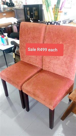 2 Orange suede high back chairs