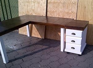 Study desk Farmhouse series 1700 L Shape Combo - Two tone