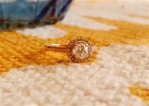 9ct Rose Gold Moissanite & Diamond Ring