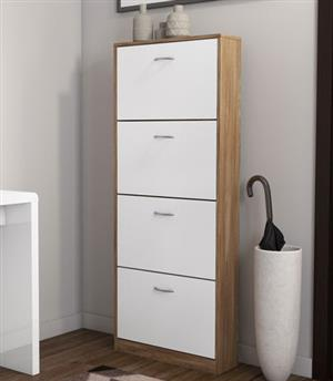 Hazlo 4 Door Shoe Storage Cabinet - Oak White