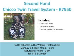 Second Hand Chicco Twin Travel system with Bases