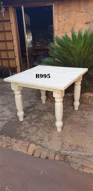 Solid Pine 4 Seater Table (1000x1000x770)