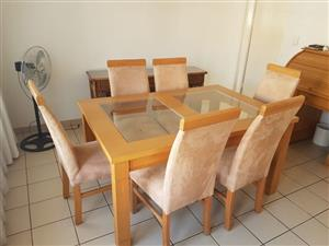 Dining Room Suite (Oak) Table & 6 chairs (Suede)