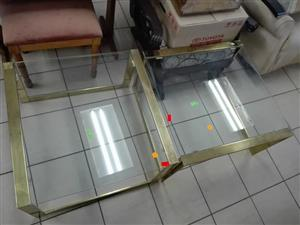 2 Glass side tables for sale