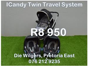 Second Hand ICandy Twin Travel System