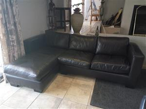 Full leather L-shaped couch / daybed