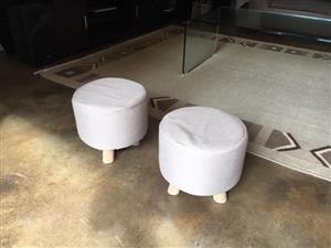 2 White round mini stools for sale
