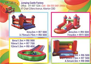 JUMPING CASTLES FROM R6500.00 COMPLETE.  JUMPING CASTLE FACTORY.  SALES - REPAIRS - RENTALS