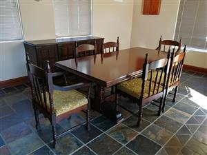 Dining table, 6 chairs and a server
