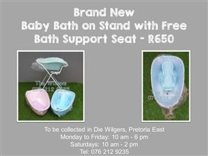 Brand New Baby Bath on Stand with Free Bath Support Seat - Blue