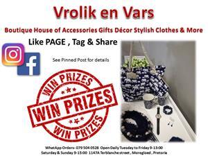 Vrolik en Vars Accessories Gifts Decor Handbags Scarfs Necklace Bracelet Watch Jewelry Clothing & handmade items