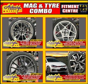 Mag and tyre combo s brand new including fitting balancing valves etc, open 7 days suitable for vw polo, golf, audi, mercedes,  toyotas, bmw m3, opel, etc etc