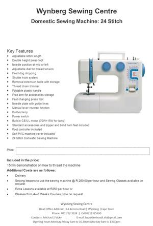 Brand new  24 stitch sewing machine for sale@wynberg sewing/service/repair/parts on all makes of sewing machines