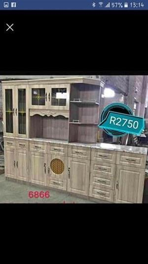 Large light wooden kitchen unit