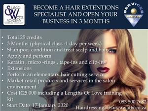 Accredited Short course in hair extensions at Susca Watts Academy