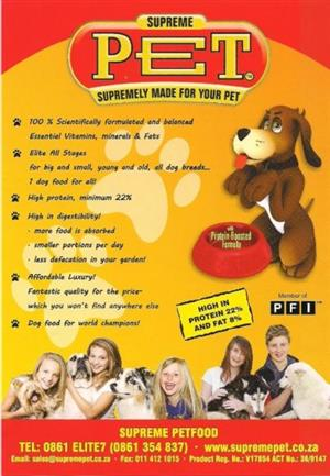 SUPREME PET Dog food available at PETS4LIFE BRACKENFELL