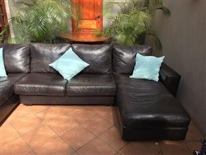 LEATHER LOUNGE SUITE. U-Shape FULL Leacher Couch Set 3 Piece / Lounge Suite. 3m x 2m.