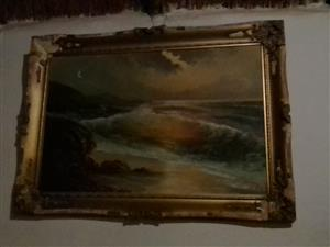 Old painting of the sea