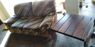 2 Seater couch with pallet table for sale
