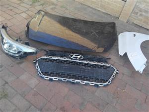 2018/2019 Hyundai i20 bonnet,fenders, headlight, radiator,aircon condenser,bumper,grill and front stifnner