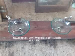Double Glass Basin with Wooden Top + Mixers