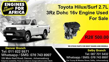 Toyota Hilux/Surf 2.7L 3Rz Dohc 16v Engine Used For Sale.