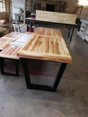 Solid Pecan wood table and benches