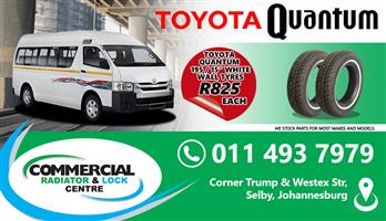 "Quantum 195/15"" white wall tyres for sale."