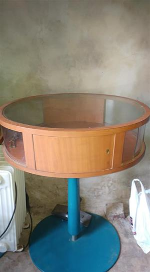 Glass and wooden round display table