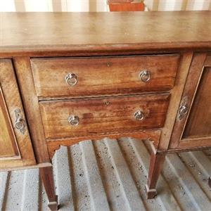 Sideboard, stinkwood, antique, sterling silver handles