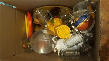 Box full of glasses, bowls