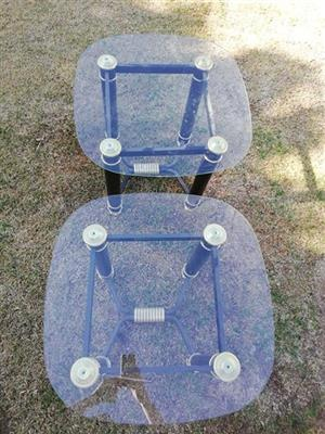 2 Glass top side tables for sale