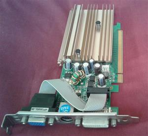 7200GS 256MB 64 BIT DDR2 PCI Express. Can show you that it is working.