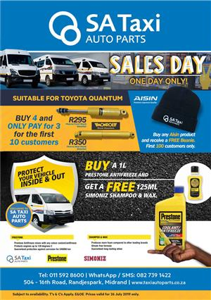 SALES DAY SPECIALS! Visit SA Taxi Auto Parts on Friday, 26 July 2019, 8am - 5pm.