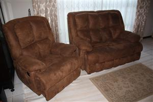 3 piece recliner lounge suite + TV stand for sale