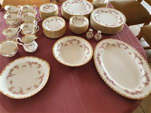 ROYAL ALBERT DIMITY ROSE PLATES,SAUCERS AND CUPS