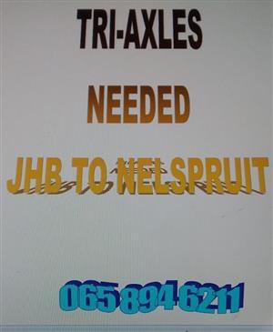 Tri-Axles Needed..JHB to Nelspruit