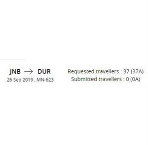 Flight Johannesburg to Durban 26 Sep MN623