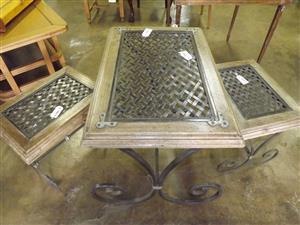 Unusual wooden sidetables with unique lattice metal inlay