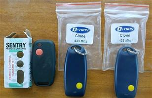 3 Brand new Sentry and 2 clone gate remotes.  R100 for all 3.