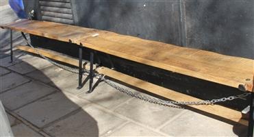 S035671A 2 x Brown wooden bench #Rosettenvillepawnshop