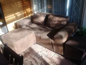 Dark brown 2 seater suede couch plus ottoman